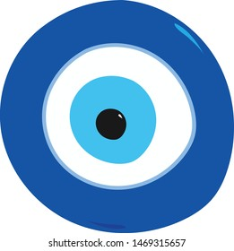 """Illustration of the blue Turkish symbol and amulet """"Nazar Boncugu"""" meaning the evil eye, believed to protect people."""