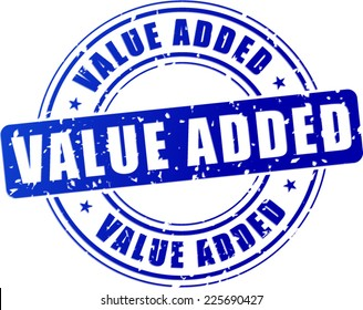 illustration of blue value added stamp on white background