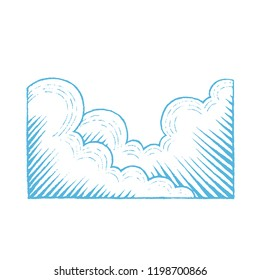 Illustration of Blue Vectorized Ink Sketch of Clouds isolated on a White Background