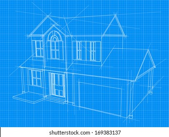 An illustration of a blueprint for an new house under construction