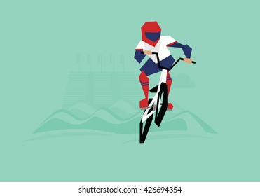 Illustration Of BMX Cyclist Competing In Event