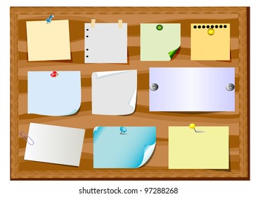 illustration board announcement with slip of paper and office button