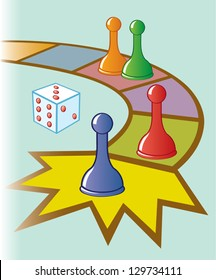 An illustration of a board game with dice and game pieces at the finish line.