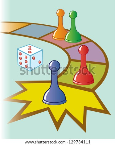 Illustration Board Game Dice Game Pieces Stock Vector Royalty Free
