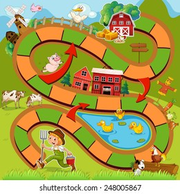 Illustration of boardgame with farm background