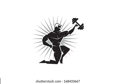 Illustration of a body builder holding up a dumbbell