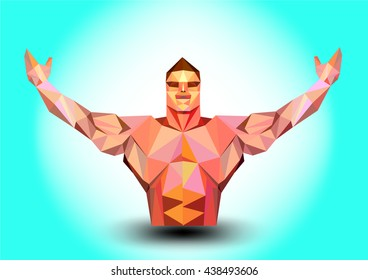 illustration body builder triangle on blue background