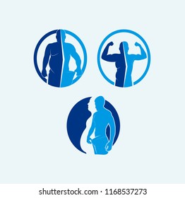 illustration of body changes, suitable for health clinic logos, food supplement products, fitness,