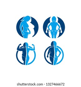illustration of body changes, suitable for health clinic logos, food supplement products, fitness, fat and ideal body women