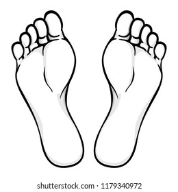 Illustration of body part, plant or sole of foot, black white. Ideal for catalogs, information and institutional material