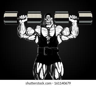 Illustration: bodybuilder with dumbbell