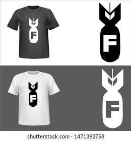 illustration of Bomb F, sticker,tshirt print, vector illustration