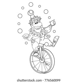 Illustration for book coloring book. A cheerful clown rides on a single-wheeled circus bike and juggles with balls. Circus. Funny vector children's characters in cartoon style.