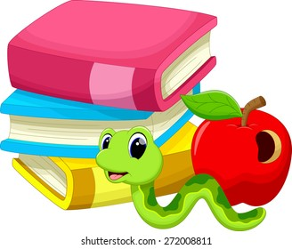 Illustration of books apple and worm