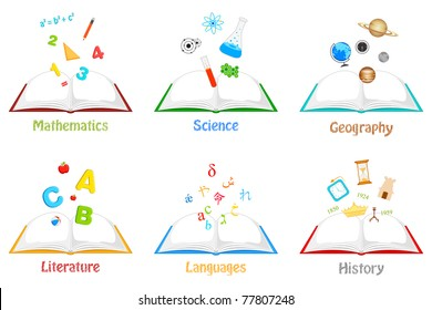 illustration of books for different subject with related elements
