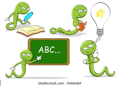 illustration of bookworm doing different activities