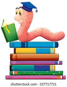 Illustration of a bookworm reading many books