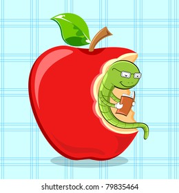 illustration of bookworm reading while sitting in apple