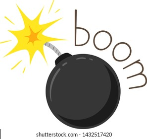 Illustration of a Boom Sound and a Lighted Bomb. Learning Onomatopoeia