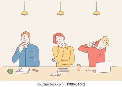 illustration of bored people - young tired and exhausted people sitting at cafe table with books and laptop in cartoon style. Hand drawn style vector design illustrations.