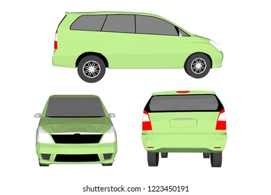 Illustration, both old and new sports cars, Vector 3D with white background.