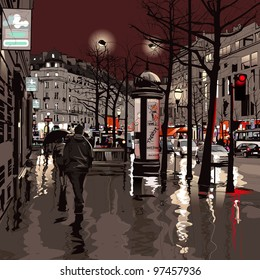 Illustration of a boulevard in Paris at night