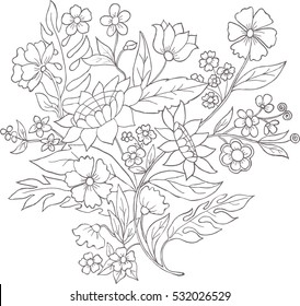 Illustration with bouquet