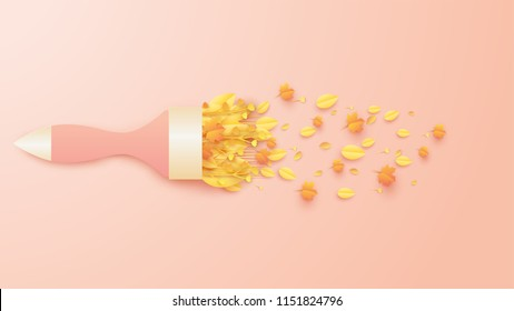 Illustration of Bouquet design for Autumn. Brush paint design for Autumn. Autumn bouquet in the form of a brush paint. paper art and craft style. vector. illustration.