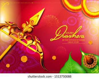 illustration of bow and arrow in Happy Dussehra festival of India