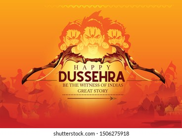 illustration of bow and arrow in with lord rama ravan Happy Dussehra festival