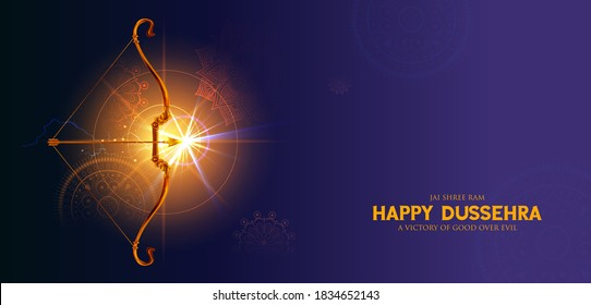 illustration of Bow and Arrow of Rama in festival of India background for Dussehra