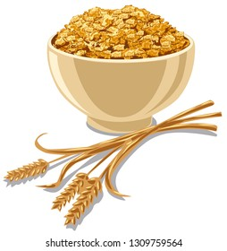 illustration of bowl with cereal cornflakes with wheat