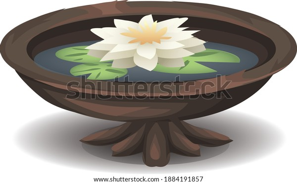 Illustration of a bowl and flower.