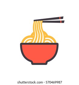 Illustration of a Bowl of Noodles with Chopsticks vector