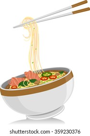 Illustration of a Bowl of Pho Noodles with a Pair of Chopsticks Hanging Above It