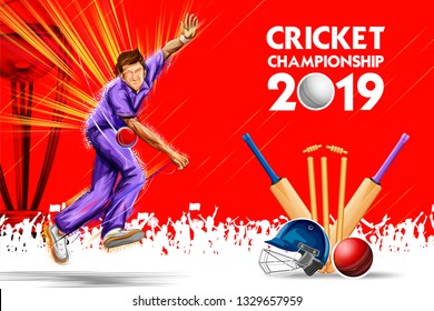 illustration of Bowler bowling in cricket championship sports 2019