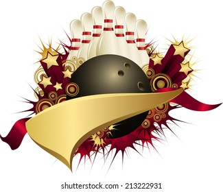 Illustration of a bowling ball with ribbons, stars, bursts and a golden pennant.