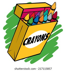 An illustration of a box of crayons normal colors.