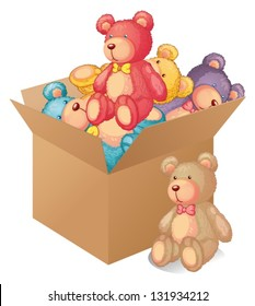 Illustration of a box full of toys on a white background