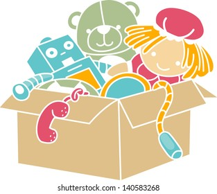 Illustration of Box Full of Toys Stencil