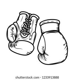 Illustration of boxing gloves. Design elements for logo, label, sign, menu. Vector image