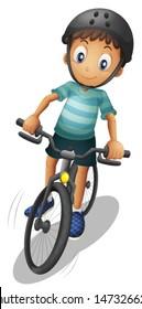 Illustration of a boy biking wearing a helmet on a white background