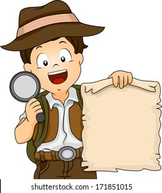 Illustration of a Boy in Camping Gear Holding a Treasure Map and a Magnifying Glass