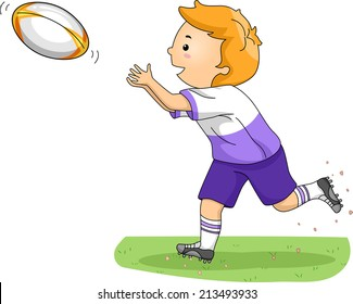 Illustration of a Boy Catching a Rugby Ball