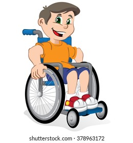 Illustration of a boy child smiling in a wheelchair. Ideal for catalogs, informational and institutional material