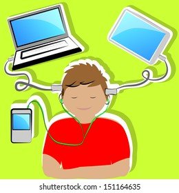 illustration of boy connected to multiple current technological means.