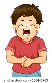 Illustration of a Boy Crying in Pain While Clutching His Stomach
