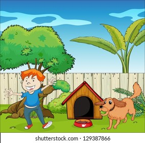 Illustration of a boy dancing along with the dog