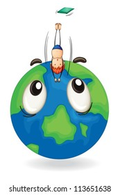 illustration of a boy diving on a earth globe