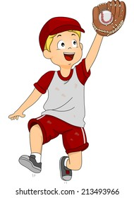 Illustration of a Boy Dressed in Baseball Gear Catching a Ball